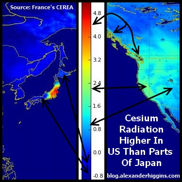 Map Of West Coast Of France.France S Cerea Us Cesium Contamination Levels Exponentially Higher