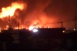 Petrochemical Complex Containing Nuclear Fuel On Fire After Explosion