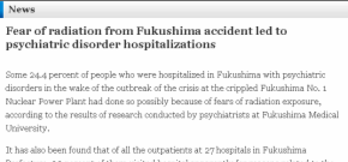 "SICK: Fear Of Radiation A ""Psychiatric Disorder"" In Japan"