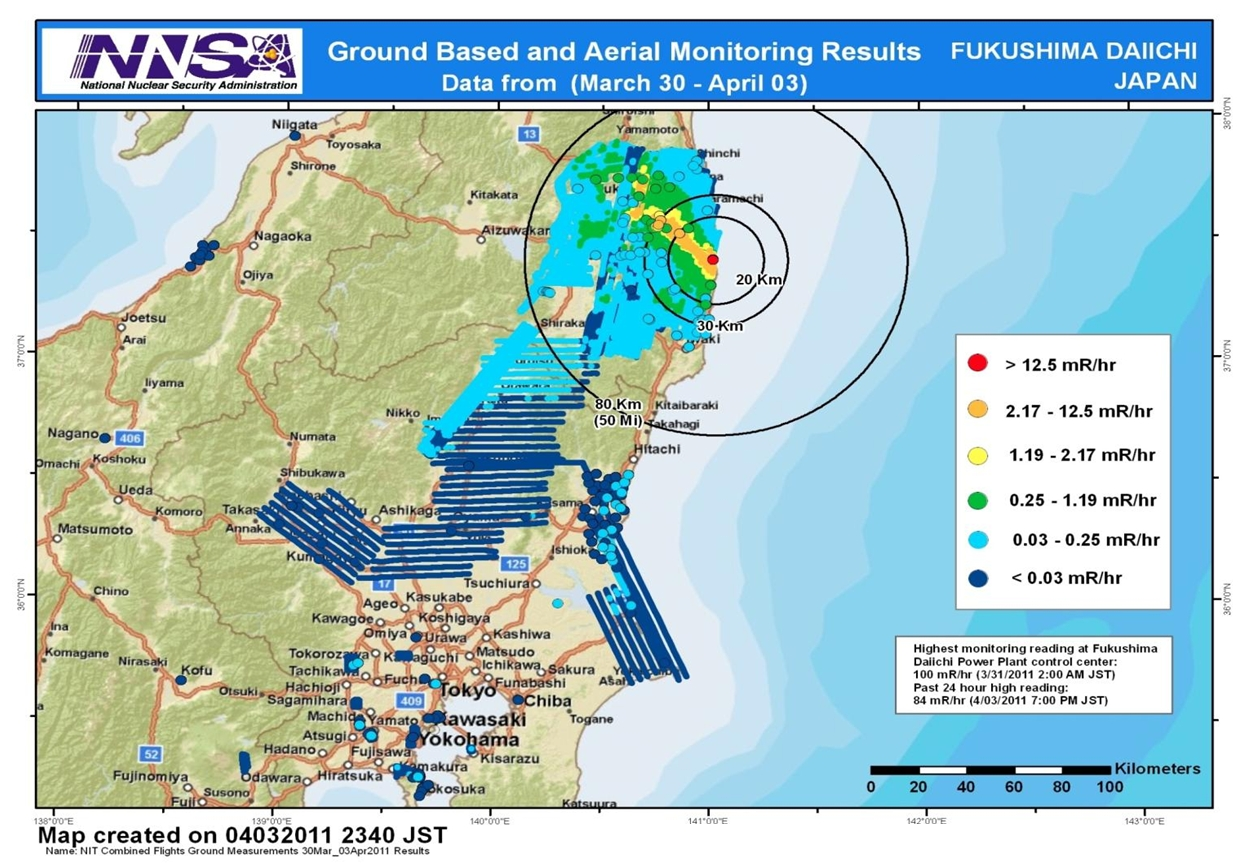 Japan Considers Raising Nuclear Disaster From Level To Based - Japan radiation map 2015