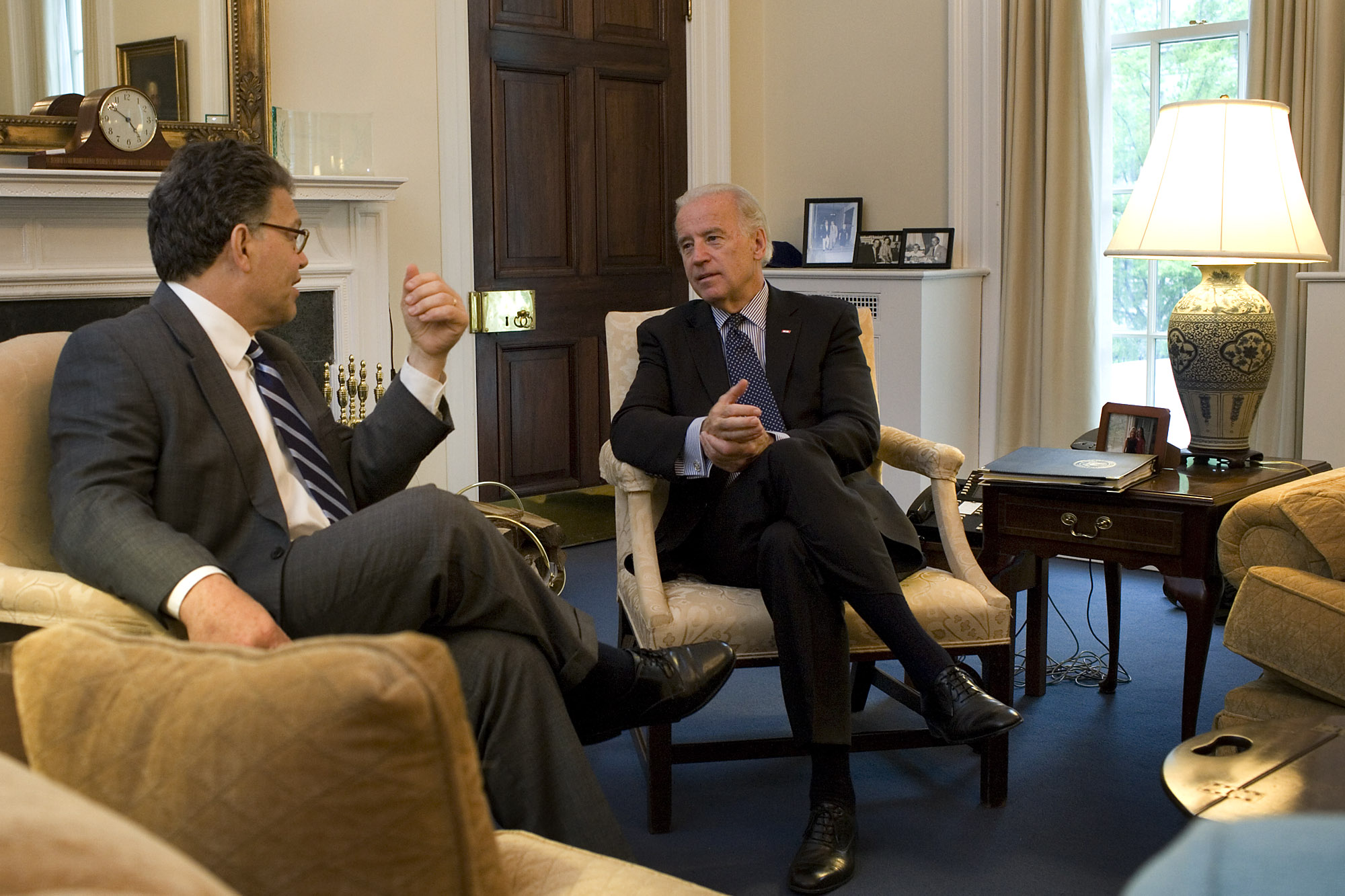 Vice President Joe Biden meets with Al Franken in the Vice President's West Wing office in Washington DC, Wednesday, May 6, 2009.  Official White House Photo by David Lienemann