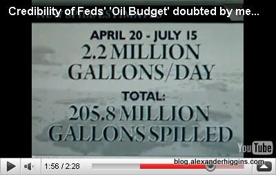 New Government Estimates Say from April 20th to July 15th 205.8 million Gallons Of Oil Spilled Into Gulf From BP Well.