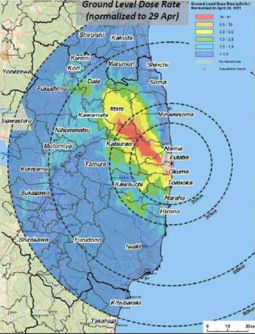 Radiation Levels Higher Than Chernobyl Evacuation Limits Span Over - Japan map radiation