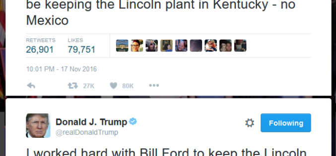 Trump Stops First Ford Factory From Moving To Mexico – Plant To Stay In Kentucky