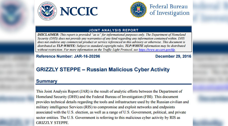 """Grizzly Steppe"" the Joint Analysis Report (JAR) on ""Russian malicious cyber activity"""