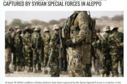 14 US-Led Coalition Military Advisors Captured by Syrian Special Forces in Aleppo