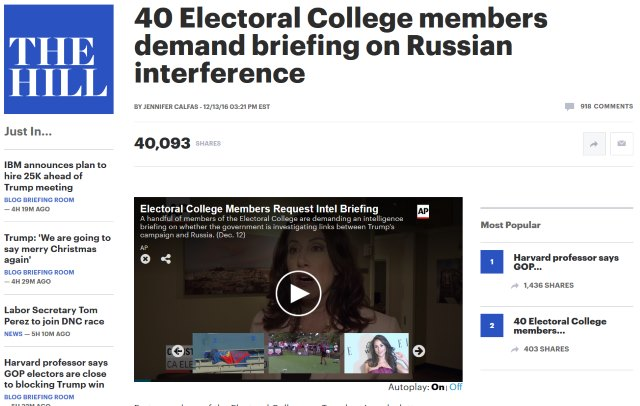 40 Electoral College members demand briefing on Russian interference