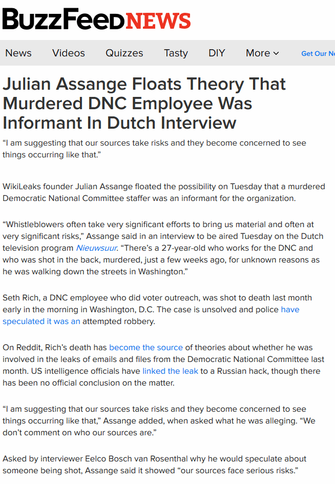 Assange floats theory Murdered DNC informant Seth Rich was Wikileaks informant