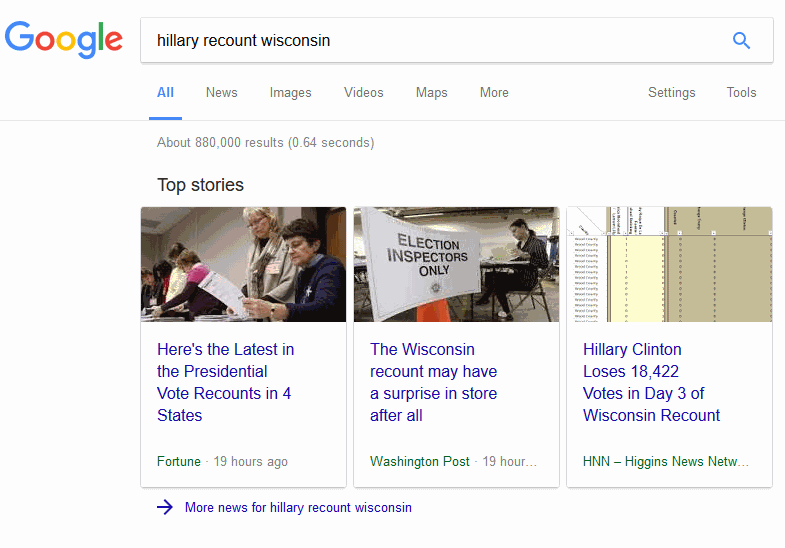 HNN article tops Google News trends for Hillary Clinton's Wisconsin recount.
