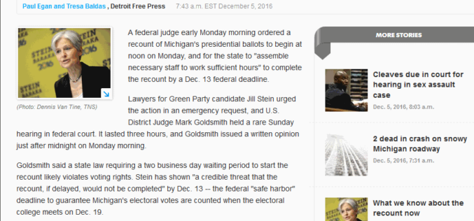 Obama Judge Orders Michigan Recount In Midnight Ruling
