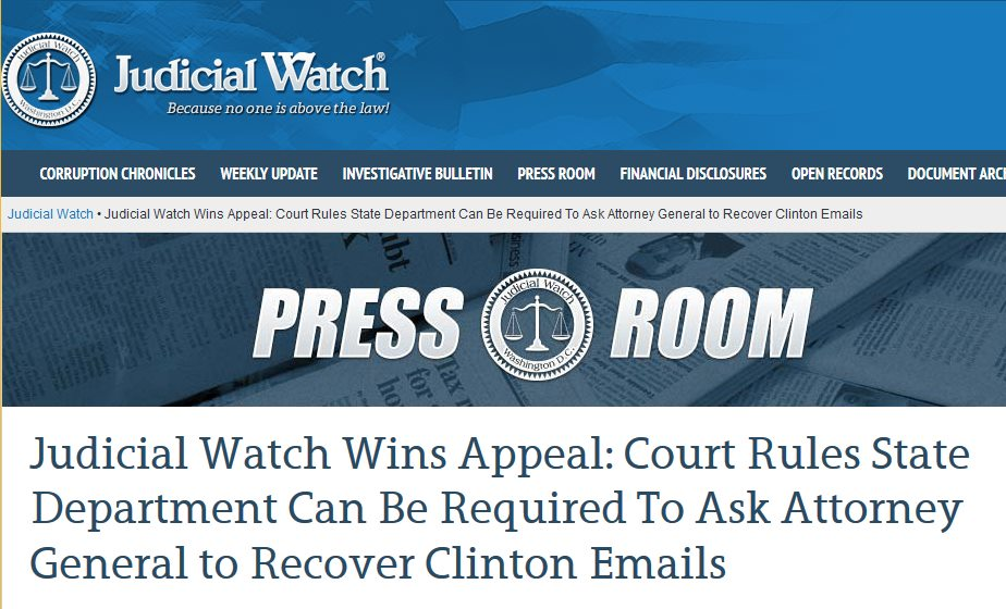 Judicial Watch Wins Appeal To Force State Department to Make the Attorney General Recover Clinton Emails.