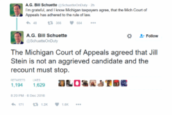 Michigan AG: Appeals Court Rules Recount Must Stop