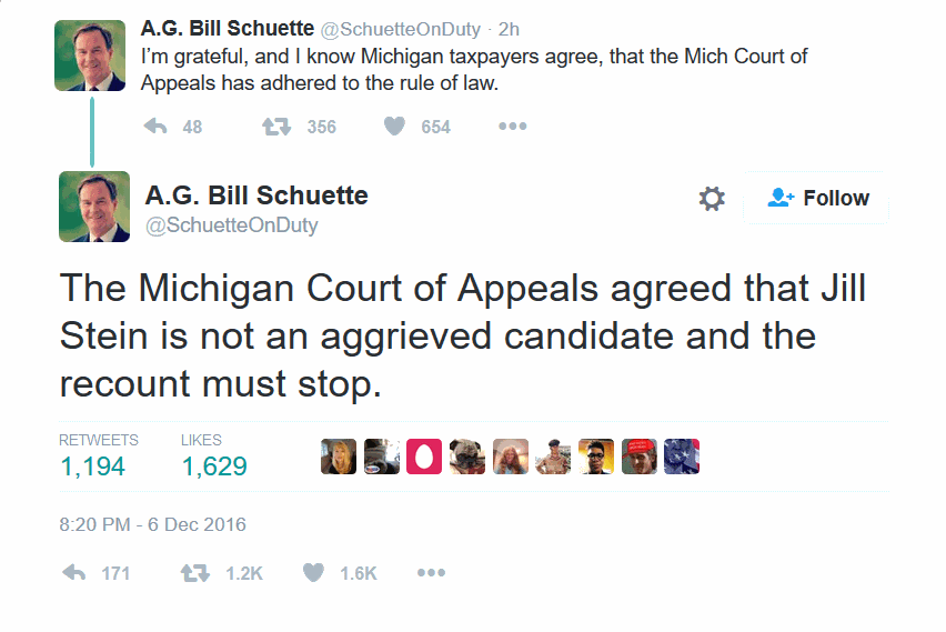 Michigan AG: Court of Appeals rules recount must stop.