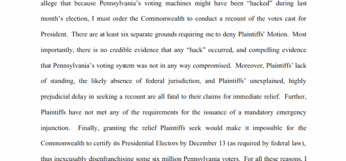 "Judge: Hacking Accusations ""Border On Irrational"" – Stein PA Recount Denied"