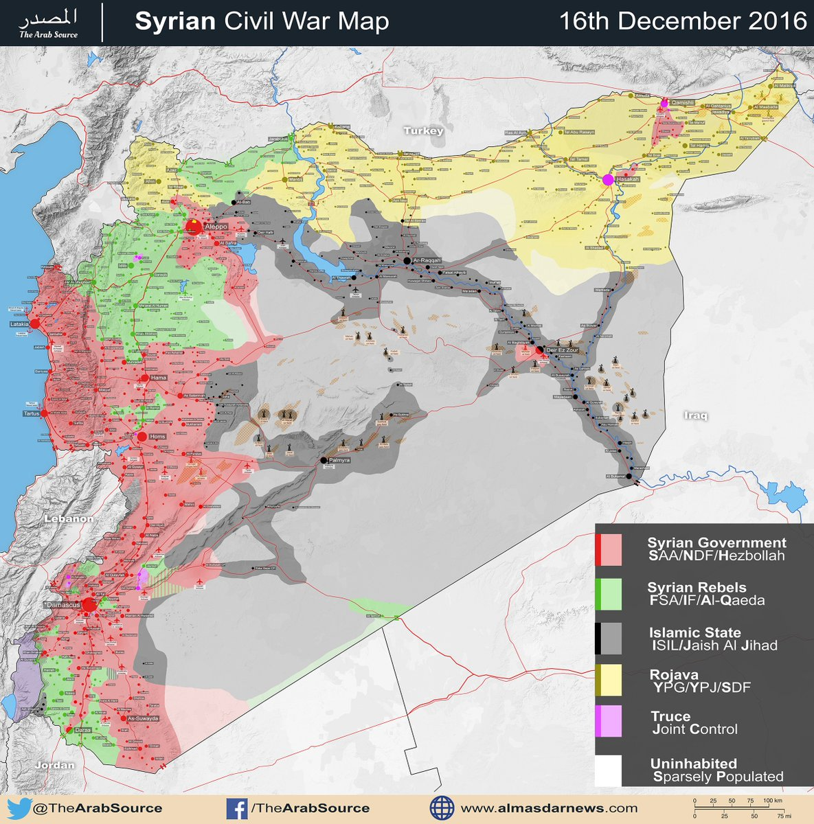 Syria Civil War Map as of December 16th, 2016