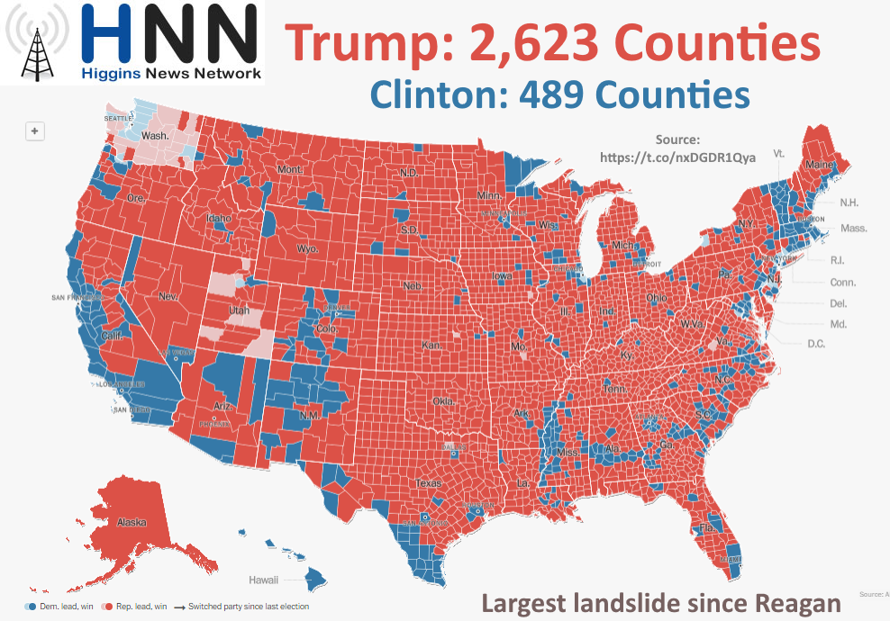 Trump Won 2,623 Counties - More Than Any Candidate Since Reagan 32 Years Ago