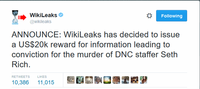 Wikileaks offers reward for conviction of Seth Rich's murder
