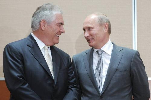 Exxon CEO Rex Tillerson with Vladimir Putin, then Russia's prime minister, at a signing ceremony in the Black Sea resort of Sochi in August 2011.