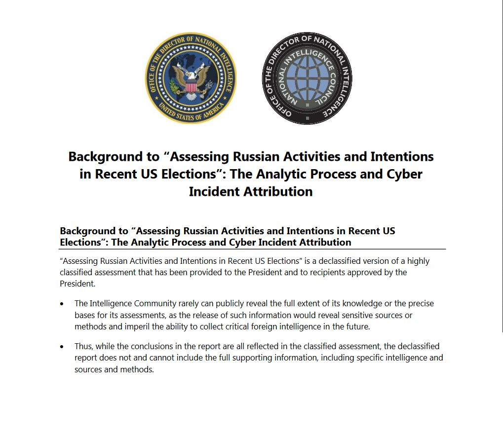 Declassified report on Russia hacking election released - Contains No Evidence