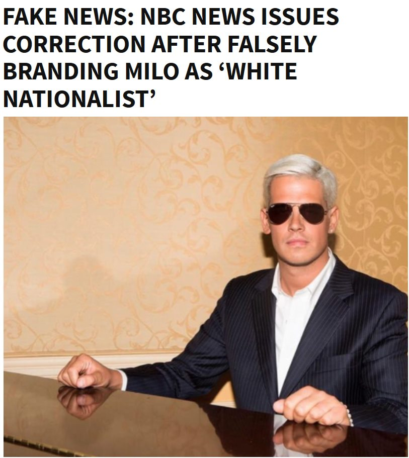 NBC Issues retraction for Fake News about Milo