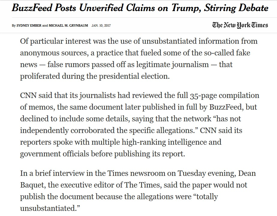 NY Times Blasts CNN's Fake news coverage of the Buzz Feed memos.