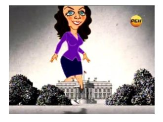 Simonyan steps over the White House in the introduction from her short-lived domestic show on REN TV (REN TV, 26 December 2011)