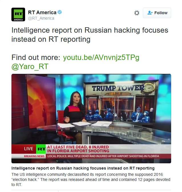 US Intel reports focuses on Russia Today Reporting instead of hacking allegations