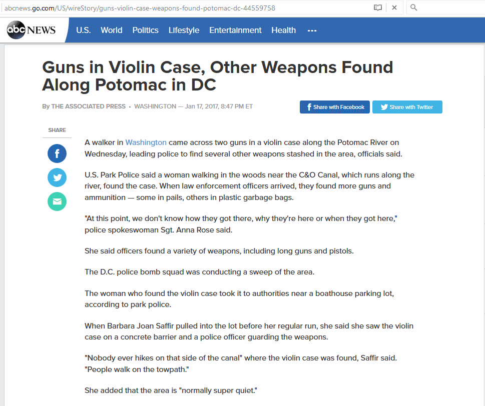 Washington D.C. Police find several stashes of guns and ammunition along the Potomac River as activist's plan to disrupt Trump's inauguration at any cost.
